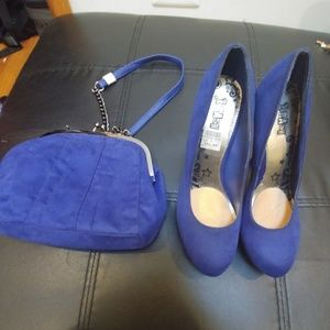 Brash Platform Faux Suede Pumps/Purse